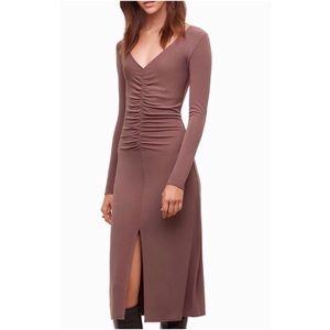 Aritzia Wilfred Aveyron Scrunched Front Slit Dress